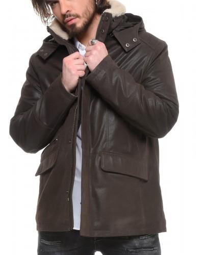Veste cuir capuche amovible