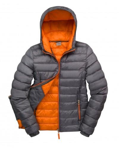 Doudoune bicolore gris orange