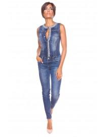 Combinaison en jean perlée LA PETITE PARISIENNE