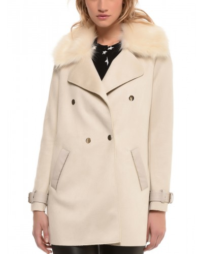 Manteau 3/4 polyester col poil synthetique