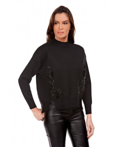 CRISTINA Pull Col Cheminée Broderies Femme