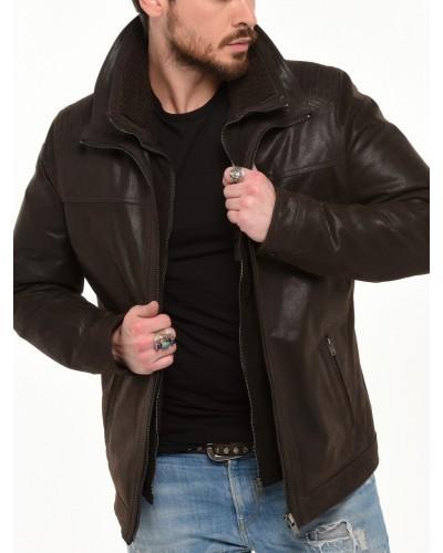 Veste cuir nubucké noir double col