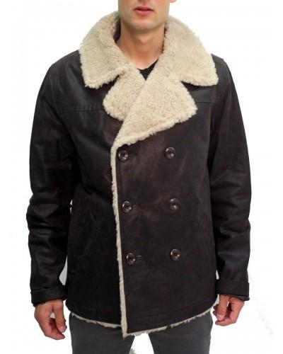 Veste cuir nubucké peau lainée synthetique