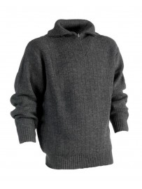 Pull camionneur tricoté col cheminée zippé