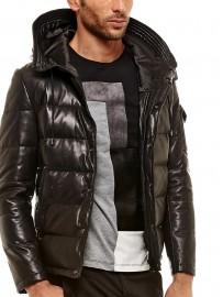 veste en cuir matelassé capuche homme