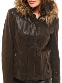 Blouson cuir capuche amovible