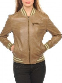 Blouson teddy college cuir style vintage tendance