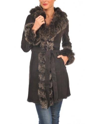 Manteau cuir peau lainée