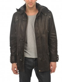 Parka cuir duffle coat capuche amovible