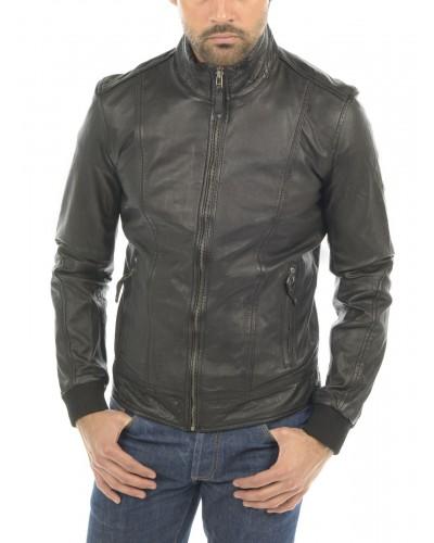 Blouson cuir poignet bord cote elastique